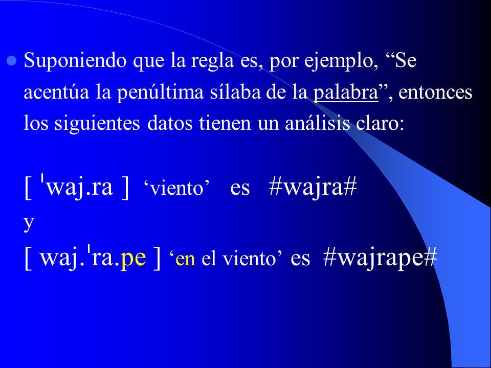 Suponiendo que la regla es, por ejemplo, Se acentúa la penúltima sílaba de la palabra , entonces los siguientes datos tienen un análisis claro: [ wajra ] 'viento' es #wajra# y [ wajrape ] 'en el viento' es #wajrape#